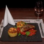 Angus sirloin steak with gratin potato and Veracruz sauce