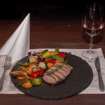 Roasted duck breast with mashed sweet potato and fried vegetables