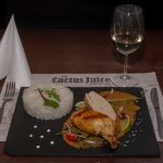 Chicken breast supreme with jasmine rise with piquant nuts sauce